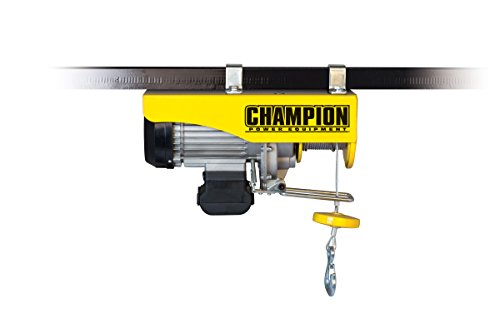 Champion Power Equipment-18890 Automatic Electric Hoist with Remote Control - Yellow, 440/880-lb.