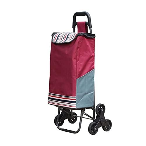 Carro de compras portátil Carrito de la escalera de la escalera de la colcha de la colcha de las compras plegable con tres ruedas silenciosas y la bolsa de lona extraíble Carrito de compras plegable
