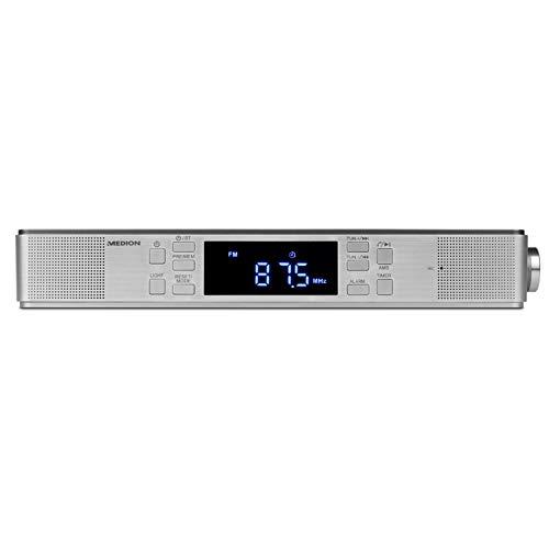 MEDION E66550 Küchen Unterbauradio mit Bluetooth-Funktion (PLL UKW Radio, Freisprechfunktion, 2 x 2,7 W RMS, Timerfunktion, LED-Display) Silber