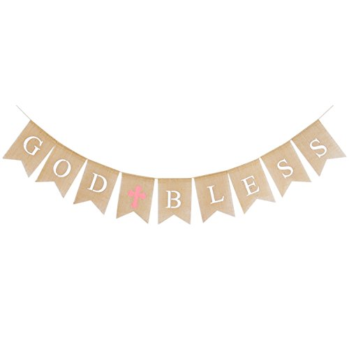 LUOEM God Bless Banner Communion Party Banner Holy Religious Bunting Garland Party Supplies for First Holy Communion Wedding Baby Shower Party Decoration 2.8m