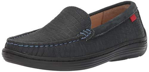 MARC JOSEPH NEW YORK Unisex-Kid's Leather Boys/Girls Casual Comfort Slip On Moccasin Venetian Loafer Driving Style, Navy Crocodile Nubuck, 4 Big Kid M US Little Kid