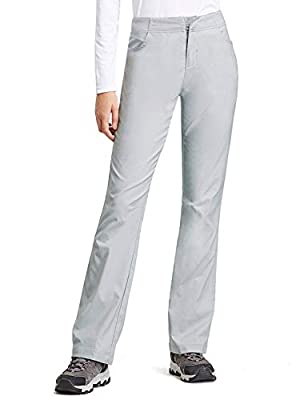 BALEAF Women's Hiking Pants UPF 50+ Stretch Boot Cut Pants Water Resistant Grey Size XL