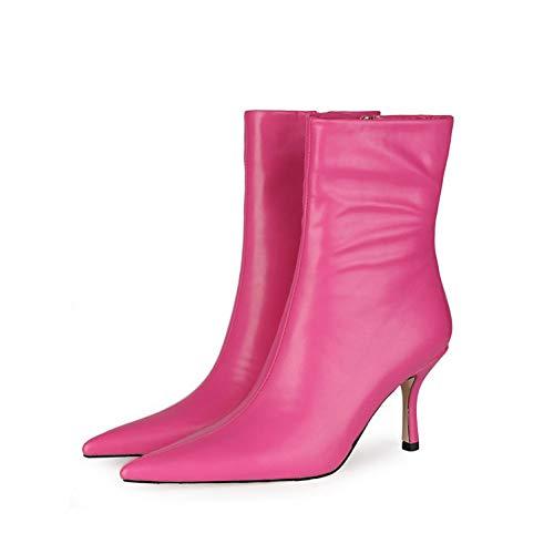 SHXITAYNB Hochhackige Damenschuhe, Kurze PU-Damenstiefel Mit Mittleren Absätzen, Einfarbige Schuhe Mit Seitlichem Reißverschluss Und Spitzem Zeh (Pink, Weiß, Blau, Rot),Rose red,41