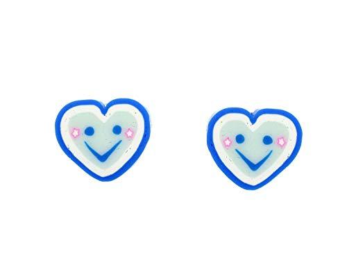 Corazón Azul Smiley pendientes pendientes de los corazones del amor Miniblings smileys