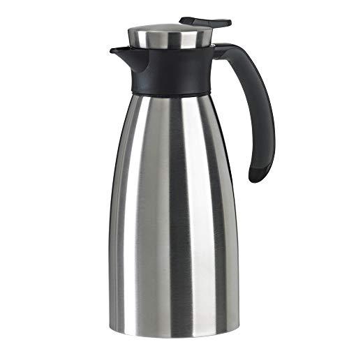 Emsa 508932 Isolierkanne (1 Liter, Quick Tip Verschluss, Soft Grip, Edelstahl) schwarz