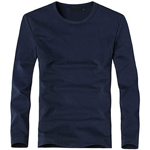 Camiseta elástica para hombre con cuello en V de manga larga de los hombres de la camiseta de algodón masculino Camisetas de hombre de la ropa de la camiseta, O Azul Marino, L