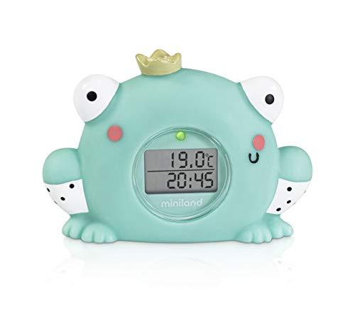 Miniland - Termómetro de baño y ambiental con alarma y cronómetro. Baños divertidos y todo bajo control.