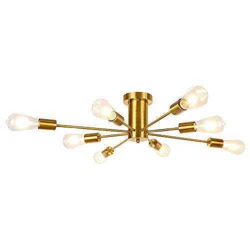 LynPon Moderne Sputnik Deckenleuchte, 8-flammig Nordisch Deckenlampe, Semi-Flush Kronleuchter, Gold Messing Beleuchtung Metall für Esszimmer, Wohnzimmer, Küche