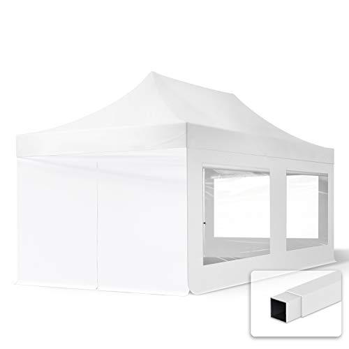 TOOLPORT Tente Pliante 3x6 m - 4 Bâches de Côté (fenêtres panoramiques) Economy PES300 Housse Barnum Chapiteau Pliant Tonnelle Blanc