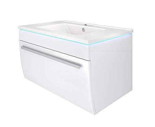 Waschtisch mit Waschbecken, Unterschrank Gently 3 70cm Hochglanz weiß