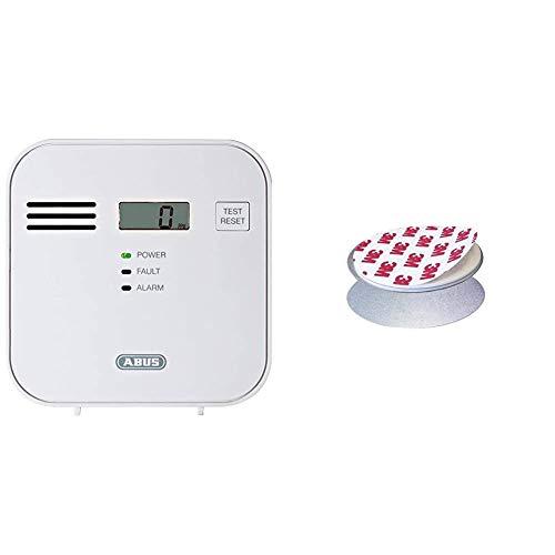 ABUS Kohlenmonoxid-Warnmelder COWM300 CO-Melder | LCD-Display inkl. CO-Konzentration | bis 60 m² | weiß | 37241 & HSZU10100 Magnet-Halterung/Befestigung für Mini-Rauchwarnmelder Grwm30600, 12312