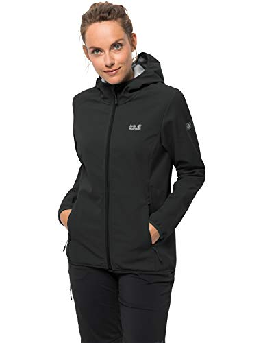 Jack Wolfskin Damen Northern Point Women Atmungsaktiv Wasserabweisend Winddicht Outdoor Funktionsjacke Wanderjacke Softshelljacke, schwarz (black), XL