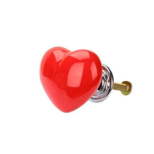 DyniLao, perillas de cerámica para el hogar, cajón, en forma de corazón, tirador, mueble, puerta, armario, armario, tocador, reemplazo, rojo