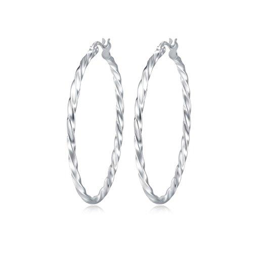 Creolen Ohrringe Twisted Rund Hängend Huggie für Frauen Damen Mädchen - Durchmesser 45 mm