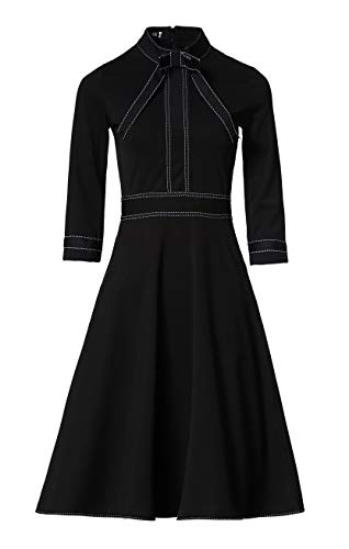 Women's 3/4 Sleeves Bow Tie A-line Casual Cocktail Swing Skater Dress