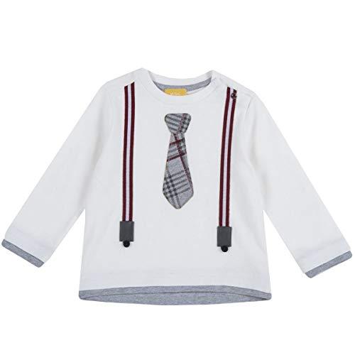 Chicco Baby-T-Shirt aus warmer Baumwolle, mit seitlichem Verschluss am Hals, 2 Clips, Hauptfarbe Weiß, Krawatte und Träger aus geprägtem Stoff, Kollektion Herbst Inve, Weiß 3 Jahre