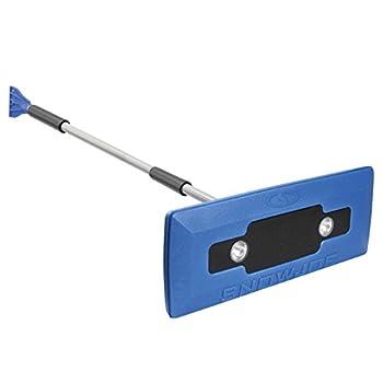 Snow Joe SJBLZD-LED 4-In-1 Telescoping Snow Broom + Ice Scraper   18-Inch Foam Head   Headlights  Blue
