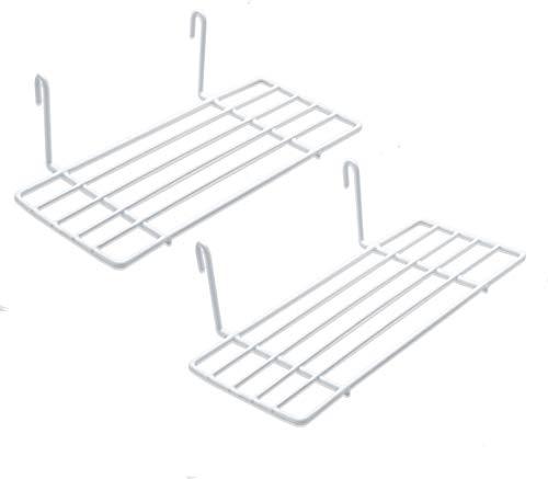 Mini Regal für Design Metall Wandgitter | Foto Eisen Gitter Raster Dekoration | Memo -Moodboard | Gridpanel | Wand Organizer | DIY Multifunktions -Grid Deko | Draht |25 x 10 cm Ablage (2X Weiß)