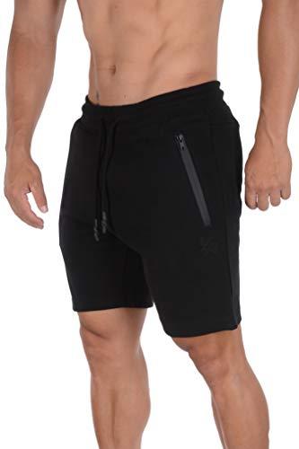 YoungLA - Pantalones cortos para hombre con bolsillos con cierre, diseño casual 108, Completamente negro, Small