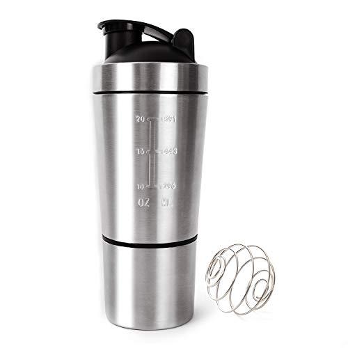 Edelstahl-Protein-Shaker mit Rührkugel Langlebiger Fitness-Bewegungskessel Auslaufsichere Wasserflasche mit doppelter Skala , 700 ml + 200 ml