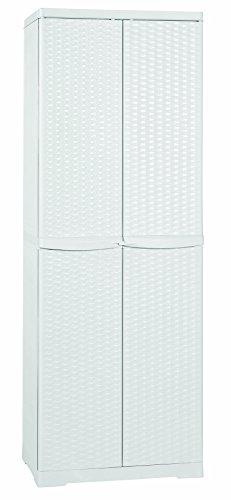 MOBILE BOX PORTASCOPE RATTAN BIANCO 65X45X180 DA ESTERNO LINE ELEGANCE