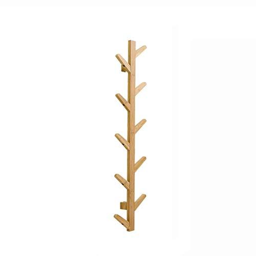 YLCJ Wandkapstok met plank 10 haken studie slaapkamer woonkamer kleding hanger kleding industriële stijl bamboe (kleur: a)