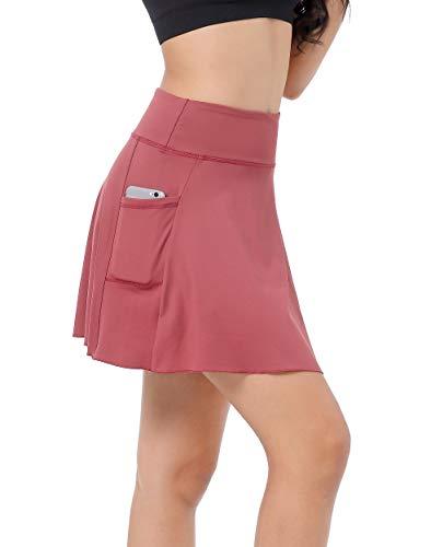 East Hong Damen-Tennisrock mit Tasche, leicht, Laufen, Sport, Golf, Rock mit Innenshorts, Jujube-rot, xl