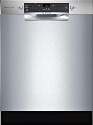 Bosch SGE53X55UC 300 Series 24 Inch Built In Full Console Dishwasher with 4 Wash Cycles, 14 Place Settings, in Stainless Steel