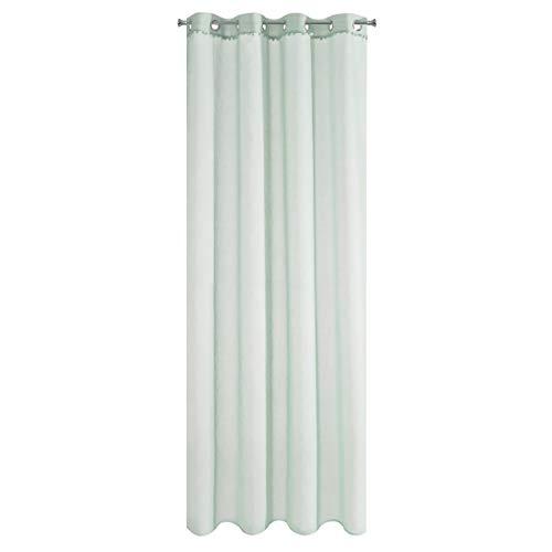 Eurofirany Tamay Gardine Vorhang Ösen Pompoms Bommel - Glatt Transparent Durchsichtig Edel Elegant Hochwertig Glamour Schlafzimmer Wohnzimmer Lounge, 100% Polyester, Mint, 140X250cm