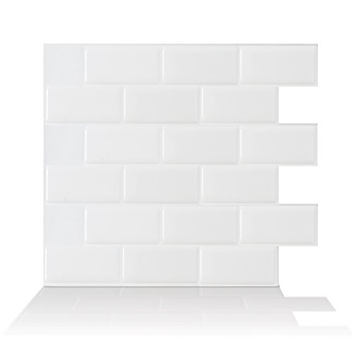 Smart Tiles Self Adhesive Wall Tiles - Subway White - 4 Sheets of 10.95' x 9.70' (27.81 cm x 24.64 cm) Kitchen and Bathroom Stick on Tiles - 3D Peel and Stick Backsplash