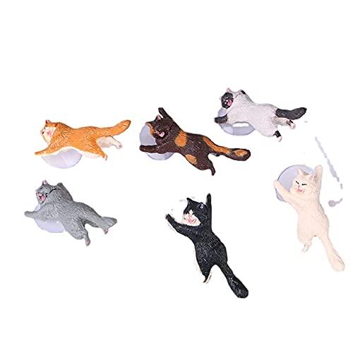 ZCXR Juego de 6 figuras de gato para decoración de la habitación del hogar, diseño de muñecos de gato, juego de personajes