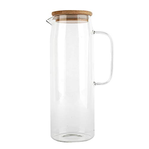 Glass Pitcher with Lid, Glass Water Pitcher Fridge Carafe Ice Tea Maker, Juice and Ice Tea Pitcher- Plastic Free Bamboo Lid, 50 Oz