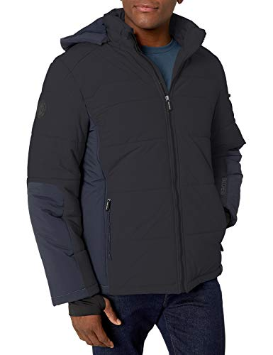 Skechers Herren Warm Puffer Jacket with Hood Daunenalternative, Mantel, schwarz, Large