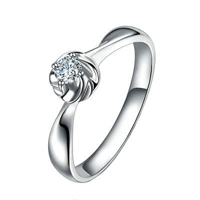 Bishilin Alianza de Boda de Oro Blanco de 18 Quilates para Mujer, Petal Diseño con 0.09ct Blanco Rojoondo Diamante Anillo de Compromiso de Matrimonio Ajuste Cómodo Oro Blancotamaño: 17