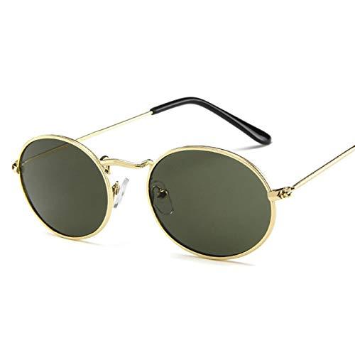 NJJX Gafas De Sol Ovaladas Pequeñas Mujer HombreGafas De SolVintageMontura De Metal C3Green