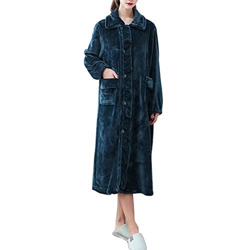 TJLSS Mujeres Suaves cálidas Franela túnica Pijamas sólido Espesar Largo Albornoz con Bolsillos Ropa de Dormir otoño Invierno camisón salón Desgaste (Color : C, Size : Medium)