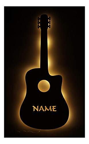 Schlummerlicht24 Deko Lampe E Gitarre mit Name Musik Geschenk für Musiker Musikschule