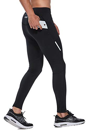 FitsT4 Thermal Fleece Lined Cycling Tights Winter Hiking Leggings Running Workout Pants for Men Cold Weather Zip Pockets Black
