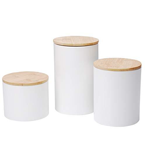 Xiteliy Ceramic Canister Set Tea Coffee Sugar Storage Pots Jars Kitchen Food Storage with Bamboo Lid Set of 3(White, 3)