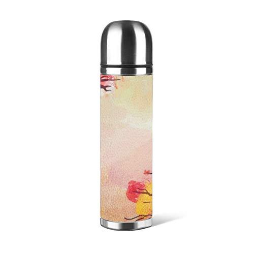 Art Fan-Design - Botella de agua de acero inoxidable con aislamiento al vacío, con doble pared para el otoño y el otoño, con aislamiento de acuarela, piel a prueba de fugas, contenedor de viaje de doble pared, termo de 500 ml
