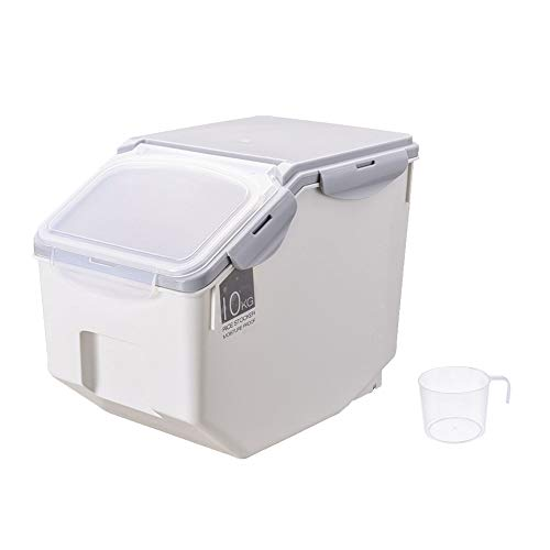 WAQIA 22Lb Rice Storage Container Bin Box with Scale Measuring Cup Cereal Bucket Tank