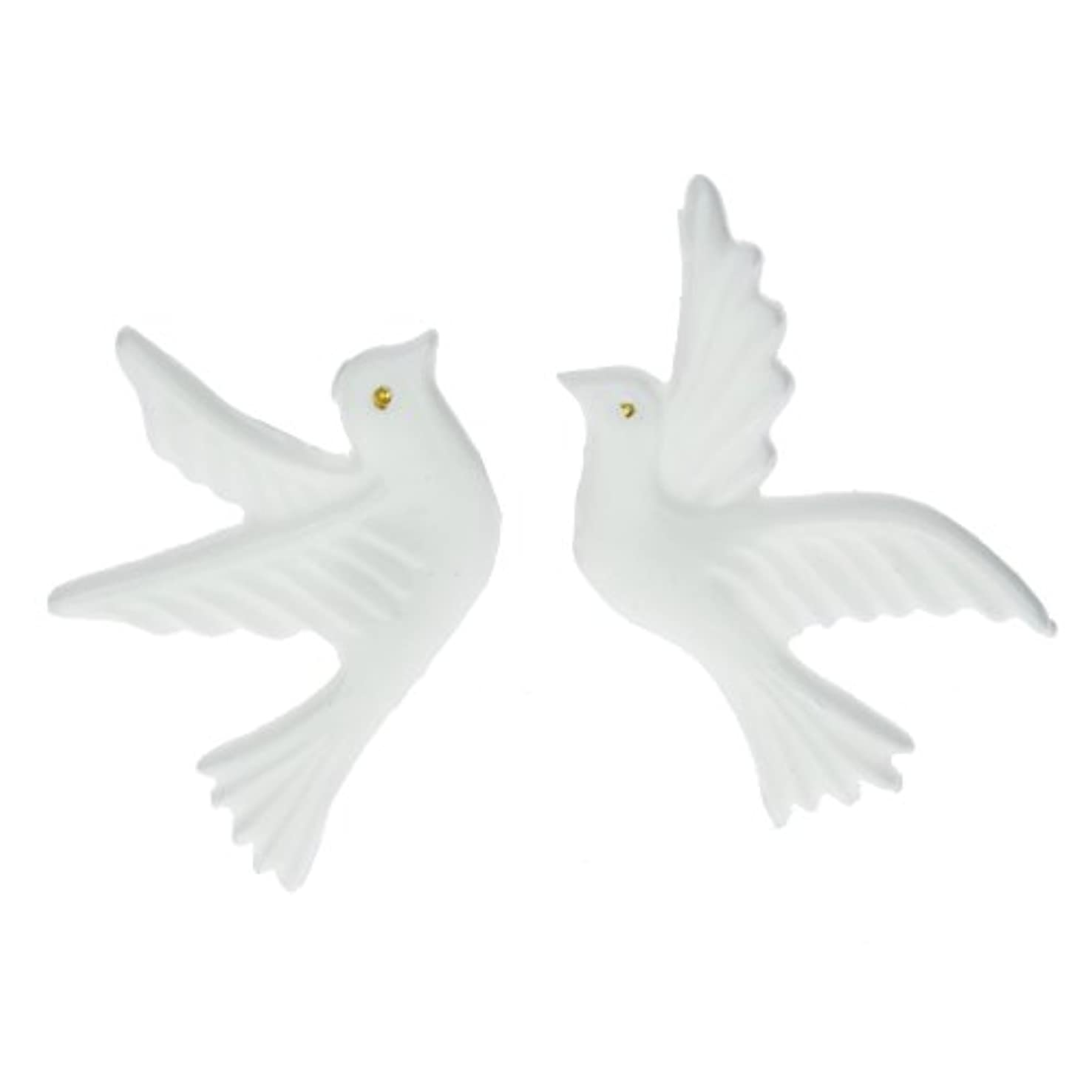 Efco Wax Decoration Pair of Doves with Golden Eye 90 x 60 mm 2 pcs. Gold/White