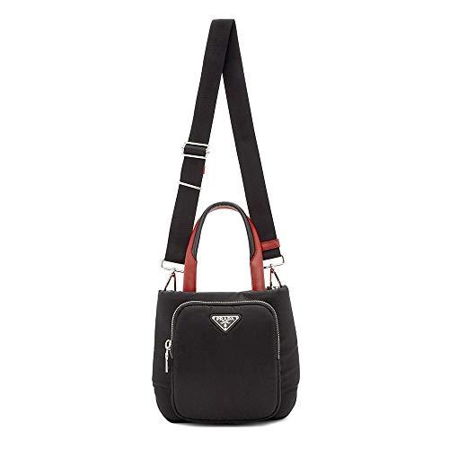 PRADA Women's Nylon Small Cargo Tote Handbag Black Red