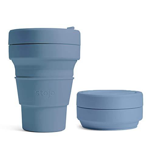 Stojo faltbare Kaffeetasse, wiederverwendbar, Taschengröße 12oz / 355ml stahlblau