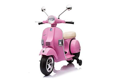 ES-TOYS Kinderfahrzeug - Elektro Kindermotorrad Vespa - Lizenziert - 12V - 2 Motoren - MP3 - Ledersitz+Eva (Rosa)