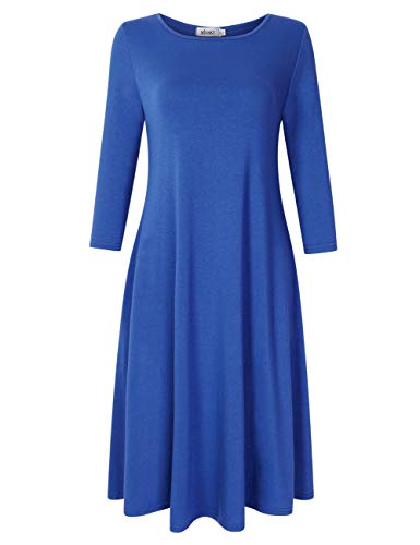 MISSKY 3/4 Long Sleeve Dresses for Women,Pocket Loose Midi Casual Dress (M, Blue 85#)