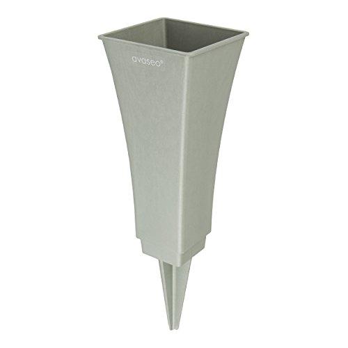 avaseo V2-200-1 Steckvase Tulpia 4-eckig mit rundem Einsatz Höhe 20cm (Silber)
