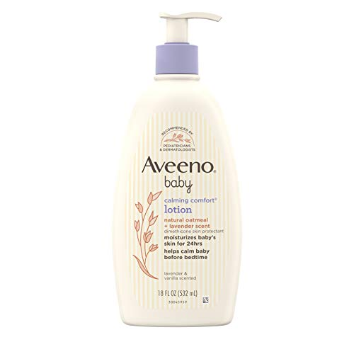 Aveeno Baby Calming Comfort Moisturizing Lotion with Relaxing Lavender & Vanilla Scents, Non-Greasy Body Lotion with Natural Oatmeal & Dimethicone, Paraben- & Phthalate-Free, 18 fl. oz