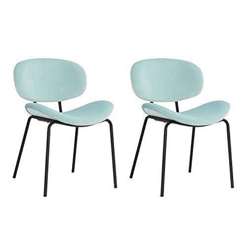 MIFI Set di 2 sedie da Pranzo Sedie da Pranzo retrò Vintage Sedie Trucco Cuscini Morbidi in Velluto Sedile e Schienale con Gambe in Metallo Sedie da Cucina per Sala da Pranzo e Soggiorno, Verde
