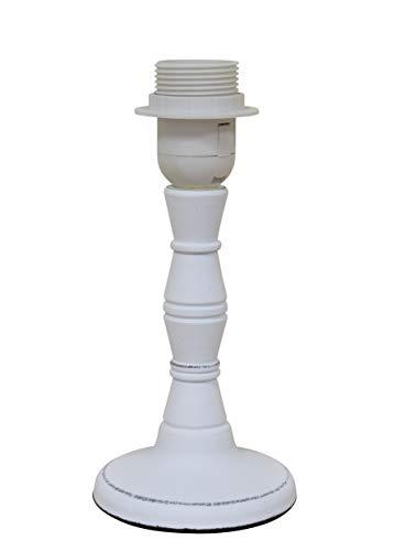 Lampe Lampenfuß Shabby Weiß Holz Landhaus E27 10 x 21 cm
